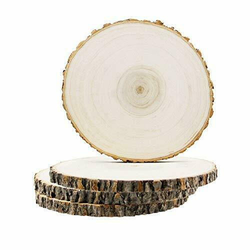 4pcs Large Wood Slices For Crafts Centerpieces Tables Slabs With Burlap Ribbon