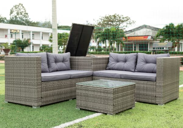 4 PCS Patio Sectional Wicker Rattan Outdoor Furniture Sofa Set with Storage Box $529.99