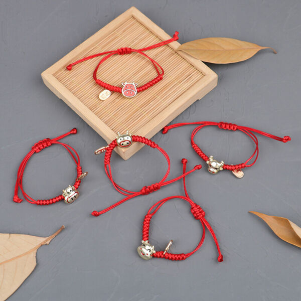 Cattle Bracelets Handmade Bangles Red Rope Accessories 2021 New Year GiftsBABW C $2.78