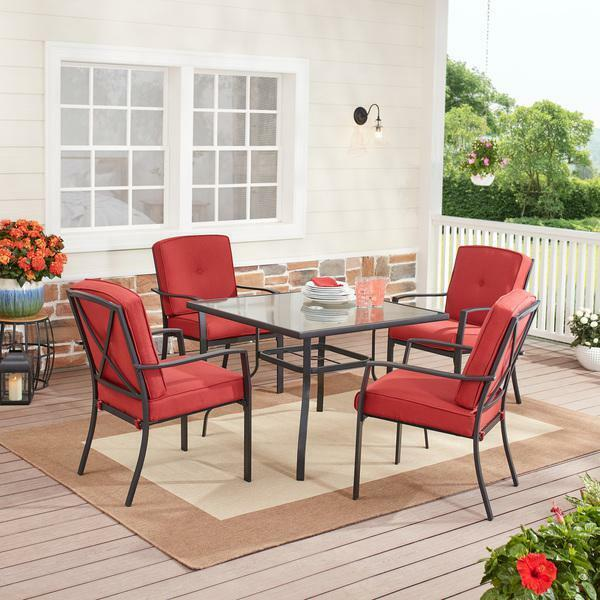 Forest Hills Outdoor Patio Dining 5 Piece Set Cushioned Metal RED deck garden $354.13