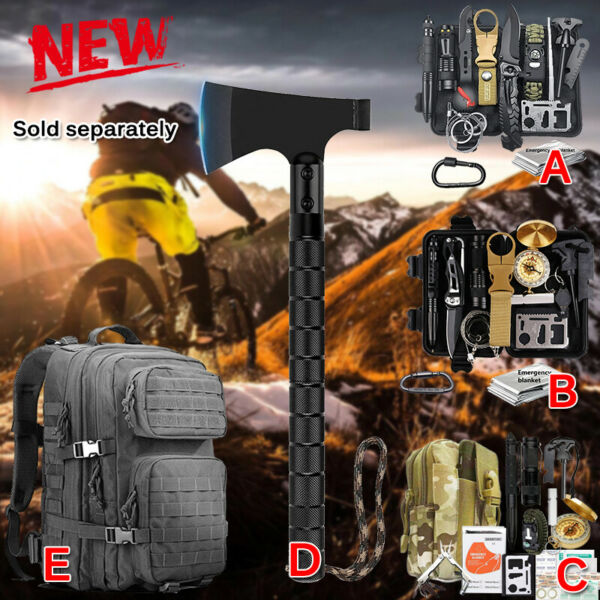 Tactical Backpack Survival Kit Military Camping Hiking Emergency EDC Gear Set