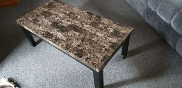 Coffee Table and End Table Black Grey
