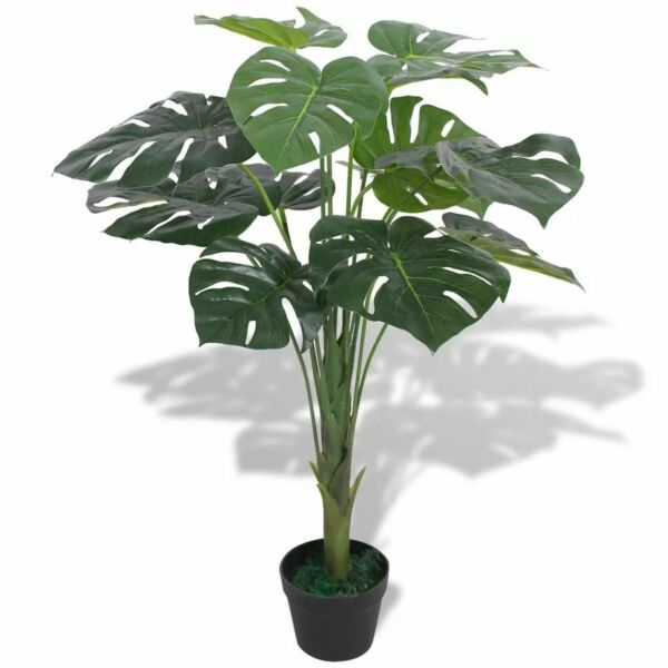 Artificial Monstera Plant w Pot 27.6quot; Green Fake Leaves Tree Decor