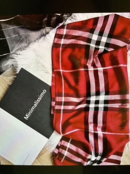 RED BLACK WHITE . CASHMERE BLACK WHITE RED AUTHENTIC BURBERRY SCARF LARGE $73.00