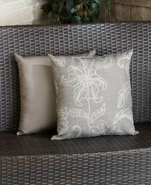 Outdoor Cushion Gray Floral Indoor Outdoor Patio Pillow $35.49