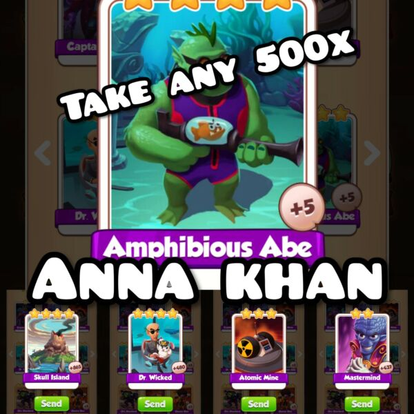 500x Take Any mix Supervillains set : Coin master cards Fastest Dilivery $14.99