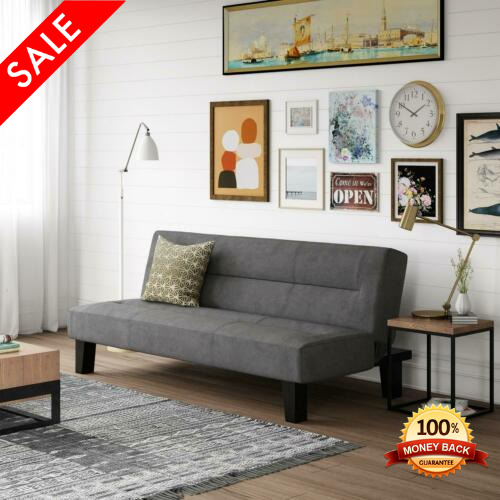 FUTON SOFA BED Convertible Couch Lounger Modern Living Room Sleep Loveseat Gray