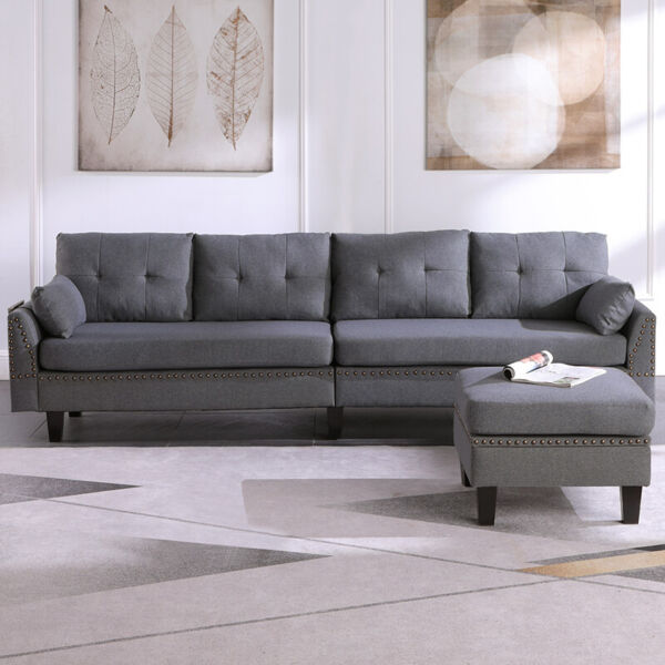 L Shaped Convertible Sectional Sofa Couch with Reversible Chaise Storage Ottoman
