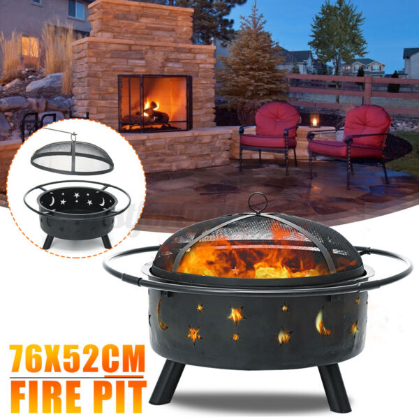 30 Inch Outdoor Fire Pit Stars Moons Firepits Fireplace Burning Heater w Poke