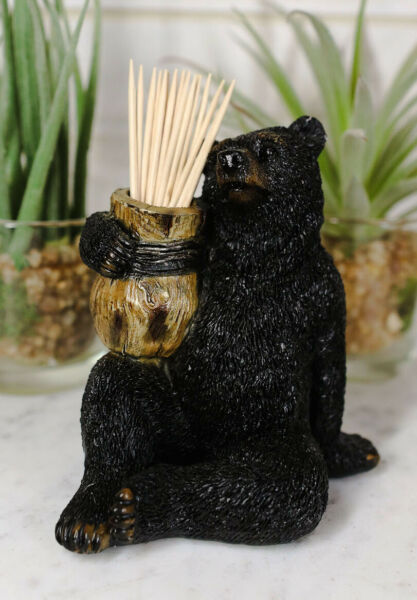 Woodlands Forest Black Bear Sitting With Wooden Barrel Toothpick Holder Figurine