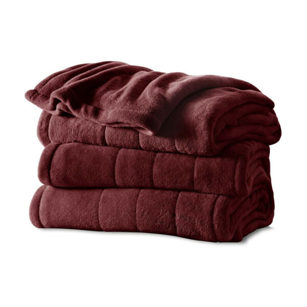 Sunbeam Full Size Soft Microplush Heated Blanket with 10 Heat Settings Garnet $54.99