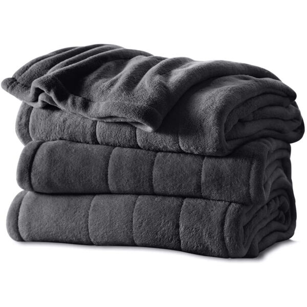 Sunbeam Twin Size Microplush Heated Electric Blanket w 10 Heat Settings Slate $69.99