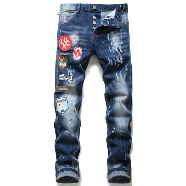 Dsquared2 Men#x27;s Slim Stretch Badge Patch Cargo Pants Youth Fashion Skinny Jeans $46.00