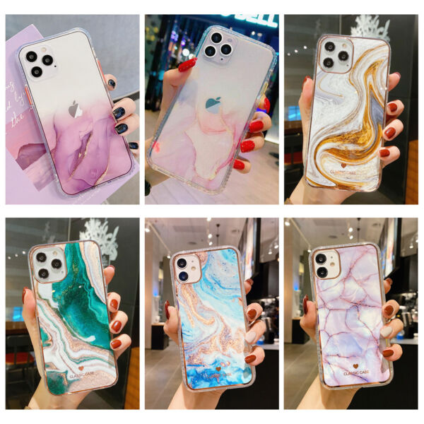 For iPhone 12 Pro Max 11 XS XR 8 7 Shockproof Hybrid Bumper Marble Case Cover