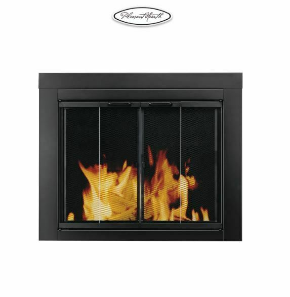 Pleasant Hearth Ascot Fireplace AT 1001 Screen and Bi Fold Track Free Glass Door