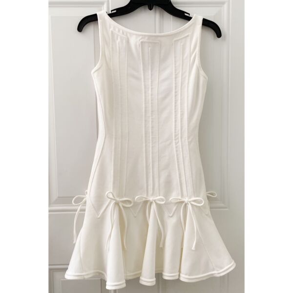 DSQUARED White Tie Bow Structured Dress $72.00