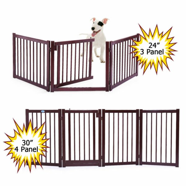 24#x27;#x27; 30#x27;#x27; Dog Gate Openable Indoor Solid Pet Dog Fence Child Safety Gate Folding $61.99