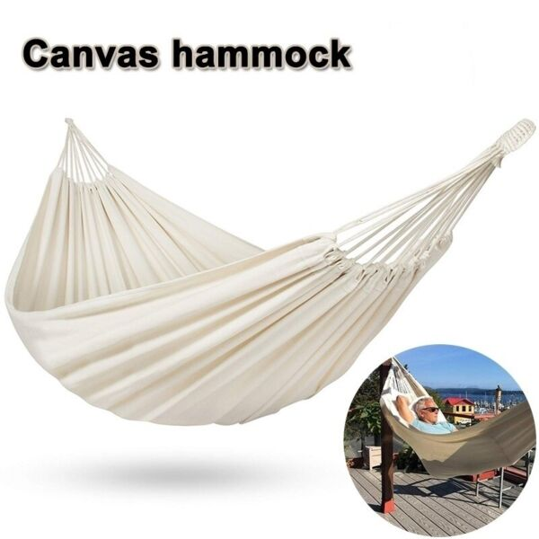 Double Brazilian Canvas Fabric Hammock Swing Bed for Patio Travel Camping Hiking $29.99
