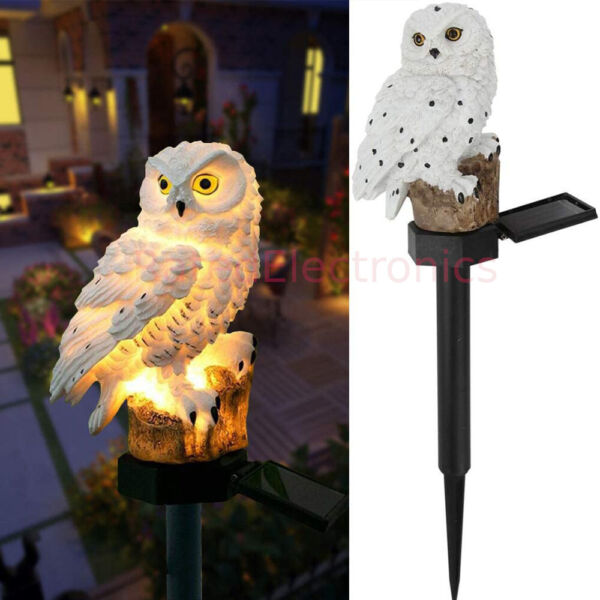 Outdoor Waterproof Solar Power LED Owl Light Garden Yard Landscape Decor Lamp US