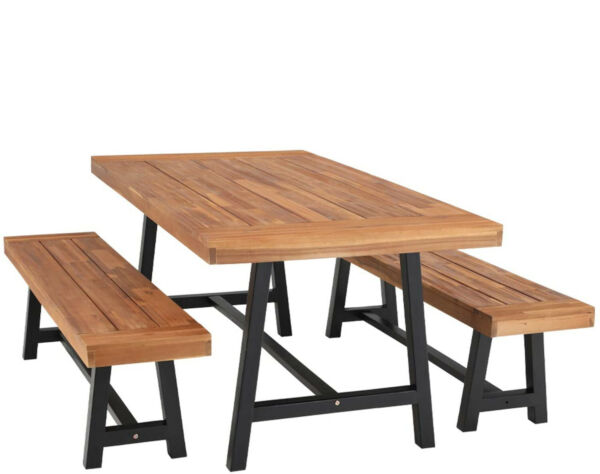 Outdoor Table Bench Set of 3 Wood Patio Dining Tables Garden Furniture Teak $429.99