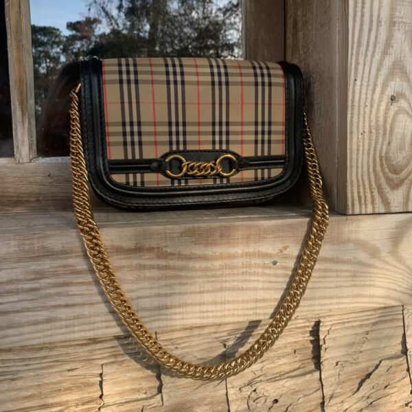 Authentic Burberry Handbag Crossbody with Gold Plated Chain $600.00