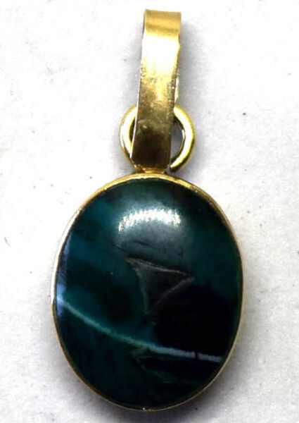 Small Antique 14K Yellow Gold and Natural Turquoise Pendant