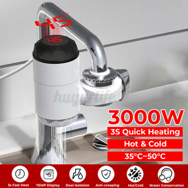 3000W 220V Electric Instant Heater Faucet Tap LED Display Hot Water Kitchen EU $38.29