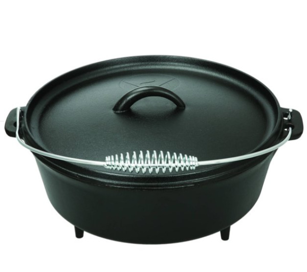 Ozark Trail 5 Quart Cast Iron Camping Dutch Oven with Handle amp; Lid Pre Seasoned
