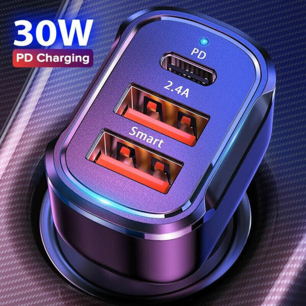 Dual USB PD Type C Car Charger 30W Fast Charge Adapter For iPhone 12 11 Pro Max
