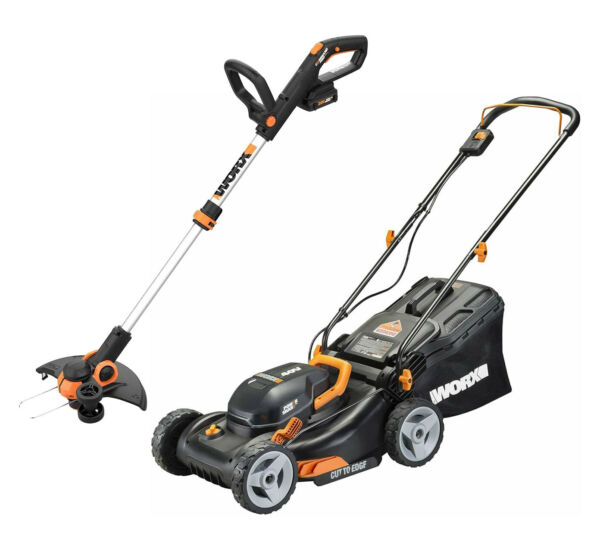 WORX WG911 2X20V 17quot; Lawn Mower Powershare with 12quot; Cordless GT Trimmer amp; Edger $329.00
