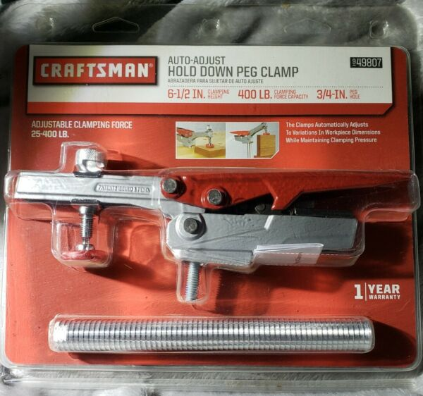 Craftsman Auto Adjust Hold Down Peg Clamp Portable Clamp Workbench 500lb Force $44.99