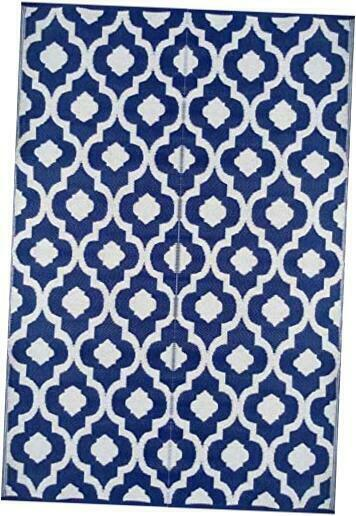 6#x27;x9#x27;  Patio Rug RV mat indoor outdoor rug plastic 6 ft x 9 ft Blue N White