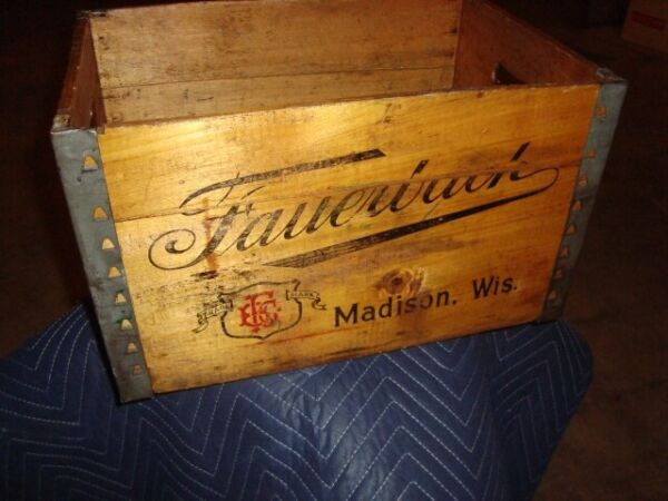 Vintage Fauerbach Wooden Color Logo Beer Crate Madison Wisconsin