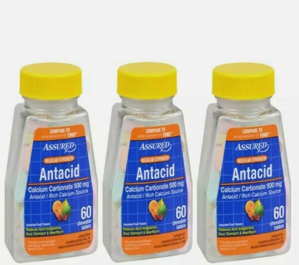 Lot Of 3 Antacid Calcium Carbonate Chewable 500 Mg Tablets 180ct. Free Shipping $13.99