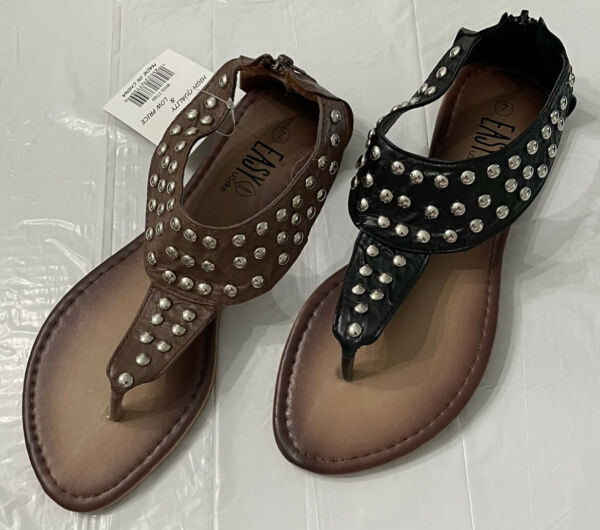 New Women Gladiator Sandals Unique Silver Studded Shoes. New in Box $14.50
