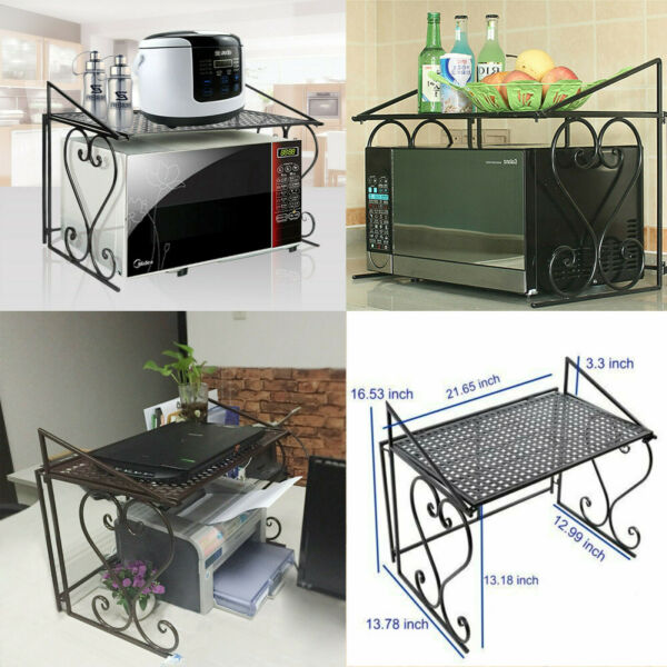 Microwave Stand Metal Microwave oven Shelf Rack Kitchen Organizer Counter 2 tier