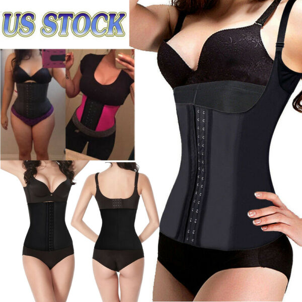 Women#x27;s Sexy Shapewear Body Shaper Latex Waist Cincher Corset S 3XL US Seller