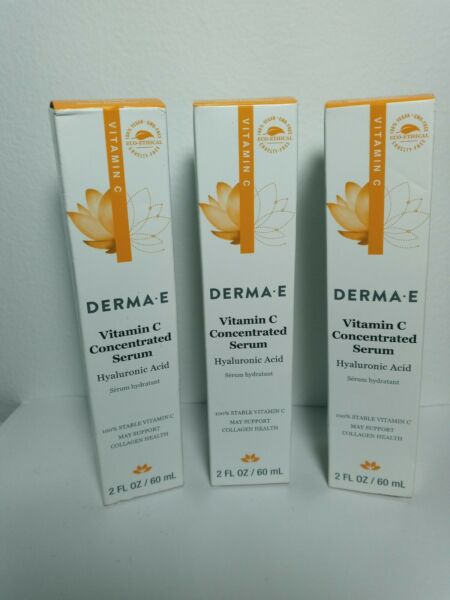 derma e Vitamin C Concentrated Serum with Hyaluronic Acid 2oz. 3 unit.free 🚛 $34.99