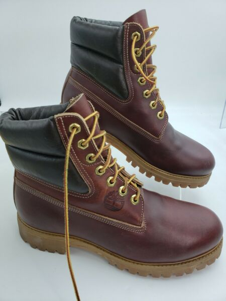 Vintage Timberland Boots Made in USA Men Size 7W Leather Burgundy 6quot; 10017 36414 $99.95