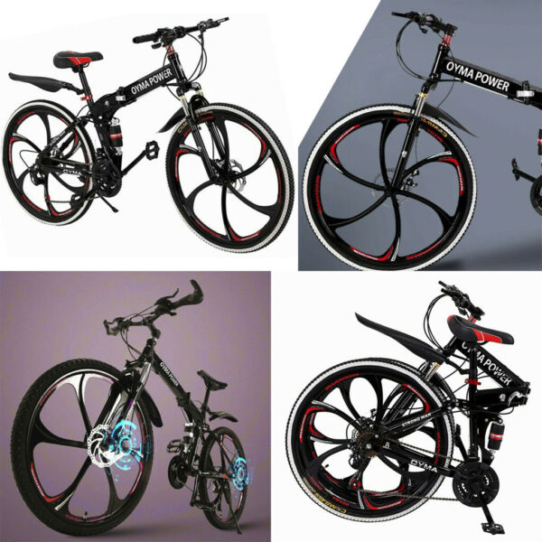 26#x27;#x27; Folding Mountain Bike Shimanos 21 Speed Bicycle Full Suspension Bicycles $194.50