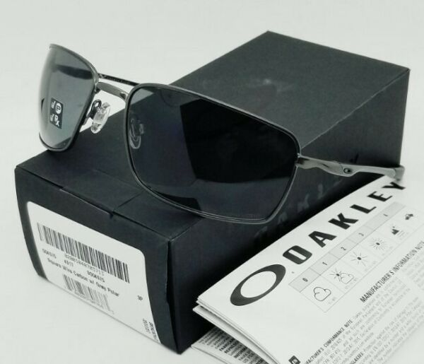 OAKLEY carbon grey POLARIZED quot;SQUARE WIREquot; OO4075 04 sunglasses NEW IN BOX $124.99