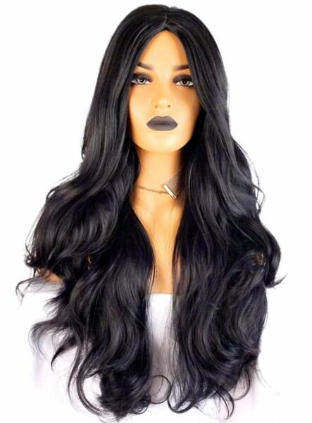 Pelucas De Mujer Naturales Cabello. Long Black Straight Wig 29.5 inches
