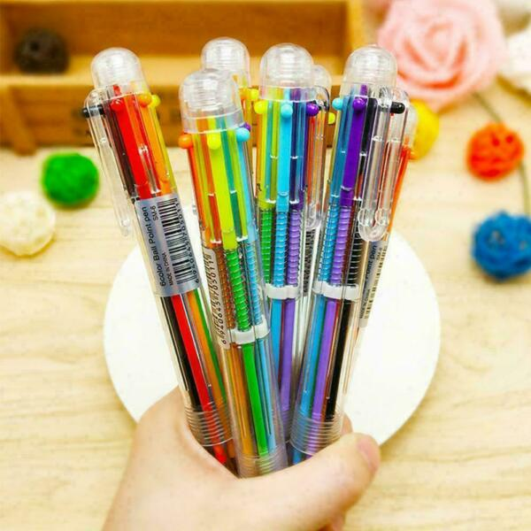 Multi color 6 in 1 Color Ballpoint Pen Ball Point Pens Office School Supply F7D7