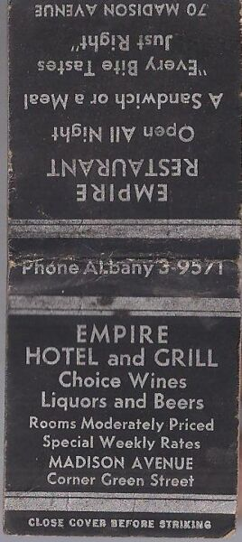 VINTAGE MATCHBOOK from EMPIRE HOTEL AND GRILL at 70 Madison Avenue ALBANY N.Y.