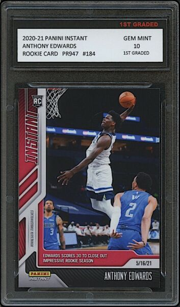 ANTHONY EDWARDS 2020 21 PANINI INSTANT 1ST GRADED 10 ROOKIE CARD RC TIMBERWOLVES $26.99