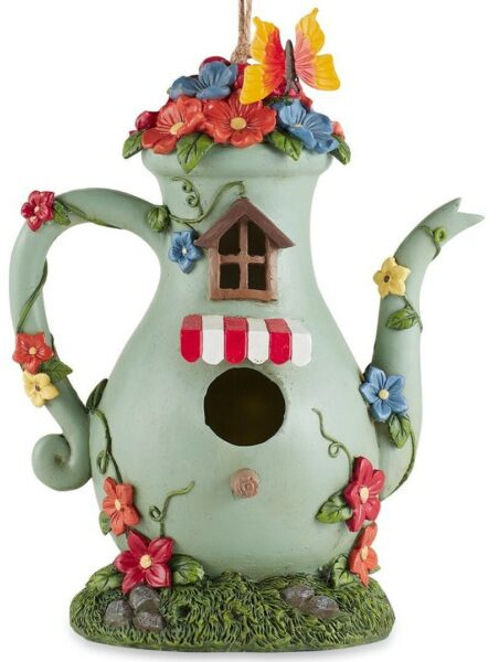Tall Teapot Birdhouse quot;Too Cute for Wordsquot; FREE SHIPPING $31.15