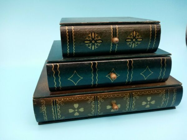 Home Interiors Book Box with Drawers Decorative Storage Wooden Boxes 8 x 6