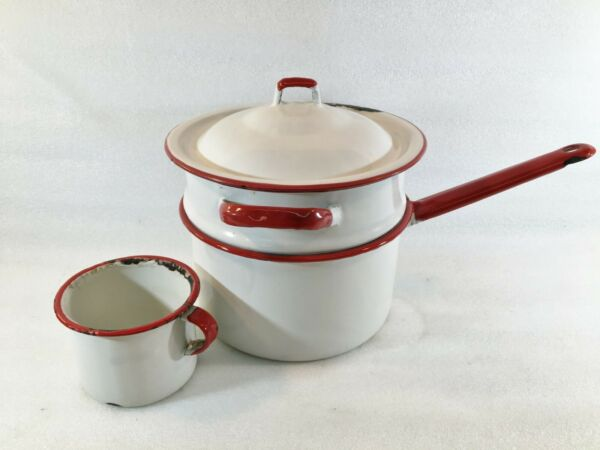 Enamel Ware Double Boiler White w Red Trim amp; Drinking Cup $19.99