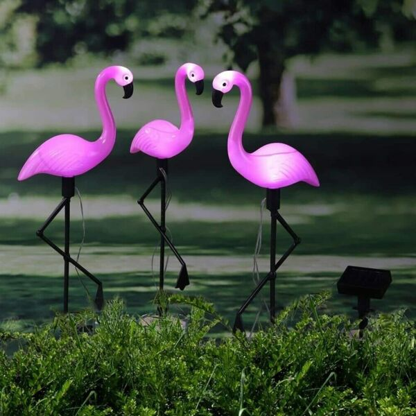 3 6Pack Outdoor Solar Lights Waterproof LED Garden Flamingo Light Dusk to Dawn