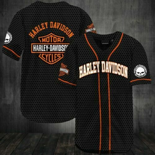 HARLEY DAVIDSON All Over Print Baseball Jersey S 5XL $39.05